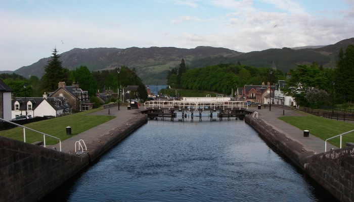 Looking down the staircase at Fort Augustus